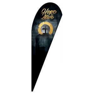 Hope Is Alive Gold Teardrop Flag Banners
