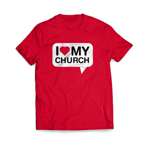 I Love My Church Large Apparel