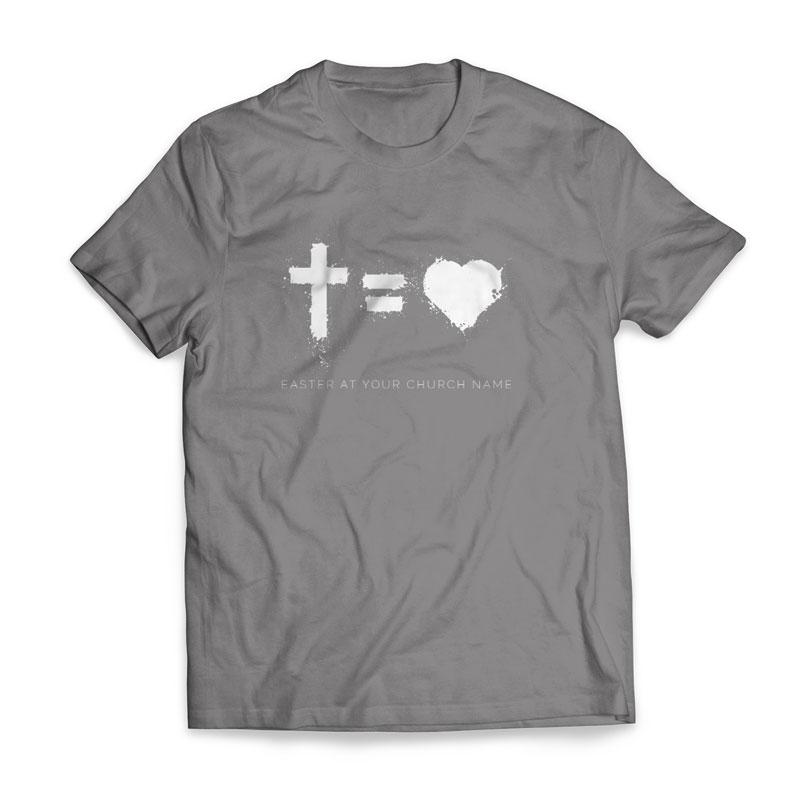 cross equals love tshirt church apparel outreach