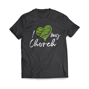 I Love My Church Green Heart - Large Customized T-shirts