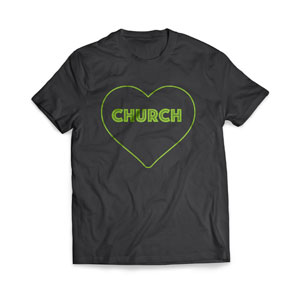 Green Church Heart T-Shirts