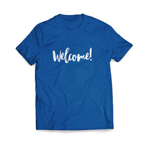Greeter Welcome Script - Large Customized T-shirts