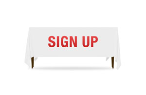 Block Letter Sign Up Table Throws