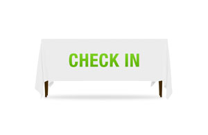 Block Letter Check In Table Throws