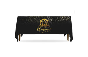Black and Gold Nativity Table Throws