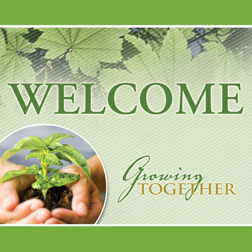 Church Banner - Growing Together Welcome 3' x 3' - Outreach Marketing