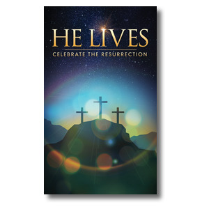 He Lives Crosses 3 x 5 Vinyl Banner