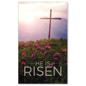 He Is Risen Mountain 3 x 5 Vinyl Banner