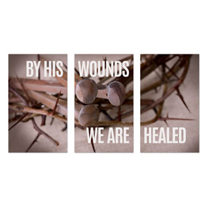By His Wounds 3 x 5 Vinyl Banner