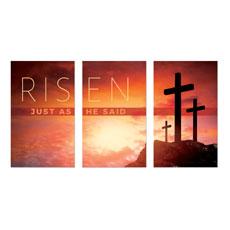 Risen Crosses Triptych Banner