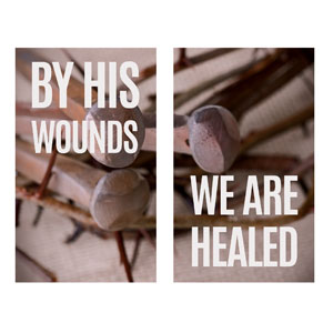 By His Wounds Pair 3 x 5 Vinyl Banner