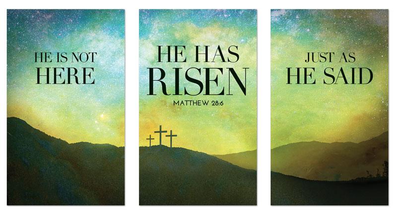 He Has Risen Matt 28 6 Banner Church Banners Outreach