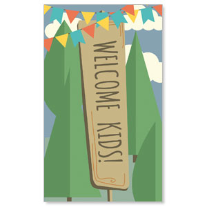 Woodland Friends Welcome 3 x 5 Vinyl Banner