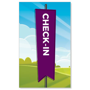 Bright Meadow Check In 3 x 5 Vinyl Banner