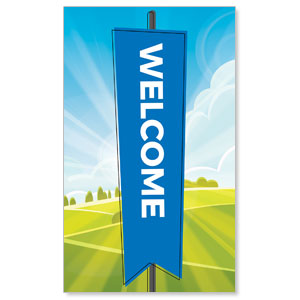 Bright Meadow Welcome 3 x 5 Vinyl Banner