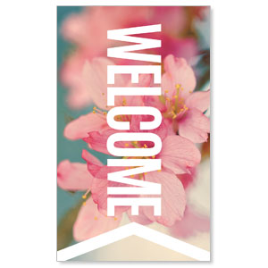 Chevron Welcome Spring 3 x 5 Vinyl Banner