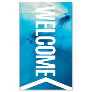 Chevron Welcome Blue 3 x 5 Vinyl Banner