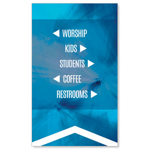 Chevron Welcome Blue Directional 3 x 5 Vinyl Banner