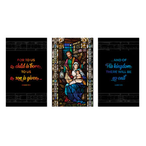 Christmas Stained Glass Scripture 3 x 5 Vinyl Banner