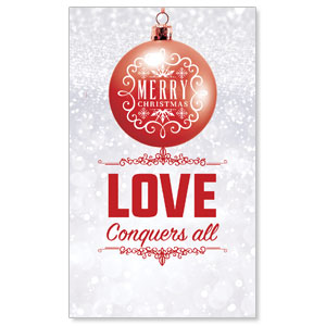 Silver Snow Love Ornament 3 x 5 Vinyl Banner