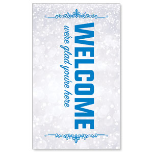 Silver Snow Welcome 3 x 5 Vinyl Banner