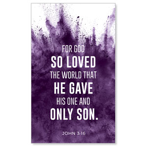 Purple Powder John 3:16 3 x 5 Vinyl Banner