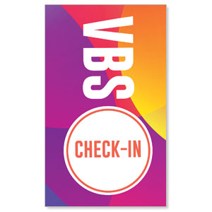 Curved Colors VBS Check-In 3 x 5 Vinyl Banner