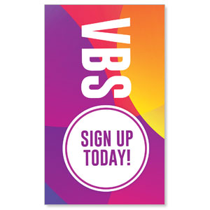 Curved Colors VBS Sign Up 3 x 5 Vinyl Banner