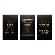 Gold Christmas Manger Triptych