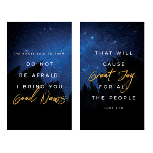 Night Sky Gold Script Luke 2 3 x 5 Vinyl Banner
