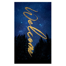 Night Sky Gold Script Welcome