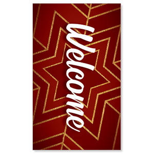 Red and Gold Snowflake Welcome 3 x 5 Vinyl Banner