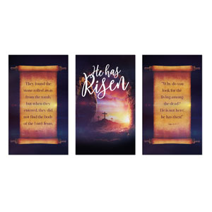 Dramatic Tomb Easter Triptych 3 x 5 Vinyl Banner