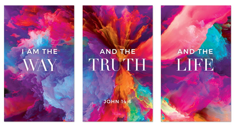 Banners, Easter, Easter Color Smoke Triptych, 3 x 5