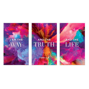 Easter Color Smoke Triptych 3 x 5 Vinyl Banner