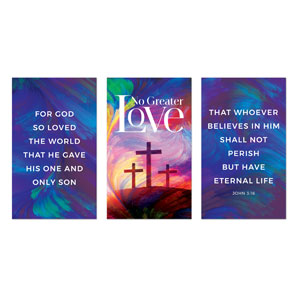 No Greater Love Triptych 3 x 5 Vinyl Banner