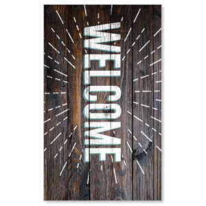 Dark Wood Easter At Welcome 3 x 5 Vinyl Banner