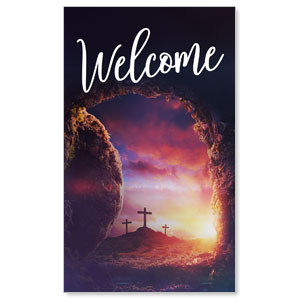 Dramatic Tomb Easter Welcome 3 x 5 Vinyl Banner