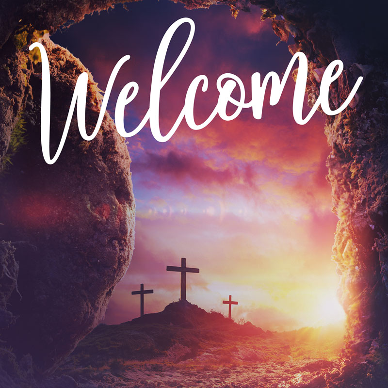 Banners, Easter, Dramatic Tomb Easter Welcome, 3' x 3'
