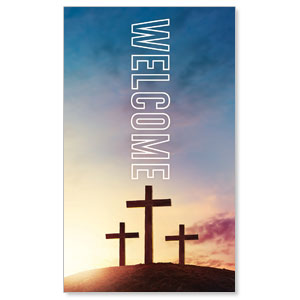 Easter Hope Outline Welcome 3 x 5 Vinyl Banner