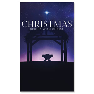 Begins With Christ Manger 3 x 5 Vinyl Banner