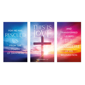 Love Easter Colors Triptych 3 x 5 Vinyl Banner