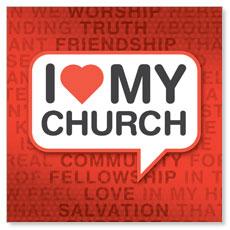 I Love My Church Window Banner