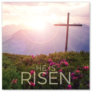 He Is Risen Mountain Window Banners