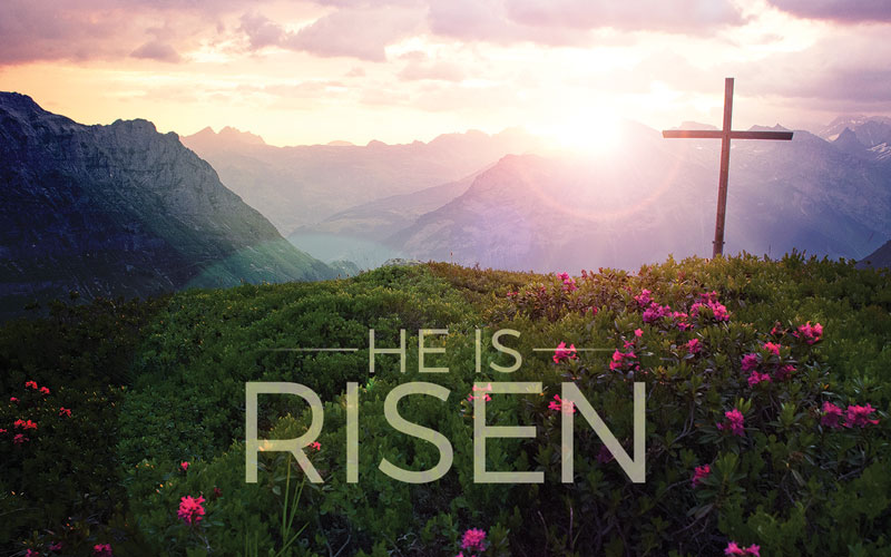 He Is Risen Mountain Banner - Church Banners - Outreach ...