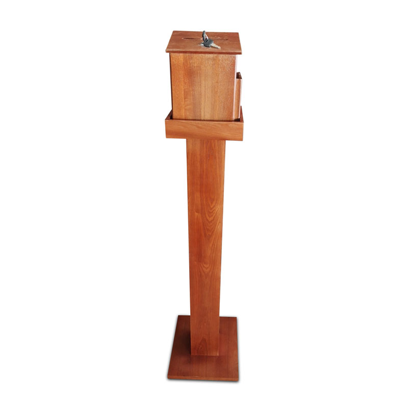 Safety Products, Safety, Wood Offering Box and Stand Combo - Oak Brown