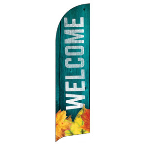 Blue Wood Bright Leaves Flag Banner