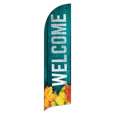 Blue Wood Bright Leaves Banner