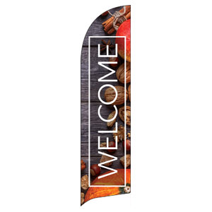 Wooden Slats Fall Flag Banner