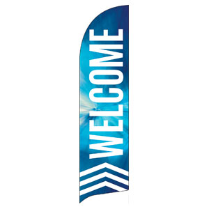 Chevron Welcome Blue Flag Banner